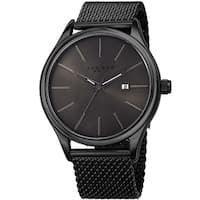 Akribos XXIV Men's Quartz Date Stainless Steel Mesh Black Bracelet Watch