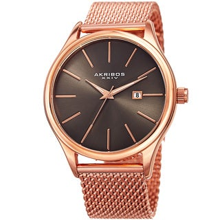 Akribos XXIV Men's Quartz Date Stainless Steel Mesh Rose-Tone Bracelet Watch