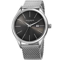 Akribos XXIV Men's Quartz Date Stainless Steel Mesh Silver-Tone Bracelet Watch