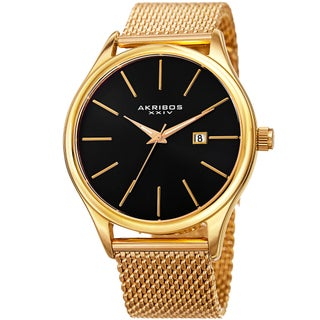 Akribos XXIV Men's Quartz Date Stainless Steel Mesh Gold-Tone Bracelet Watch (Option: Yellow Gold-tone Bracelet, Black Dial)