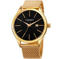 Akribos XXIV Men's Quartz Date Stainless Steel Mesh Gold-Tone Bracelet Watch