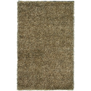 Noble House Inc Marina Green/Beige/Brown Wool/Polyester Shag Rug (5' x 8')