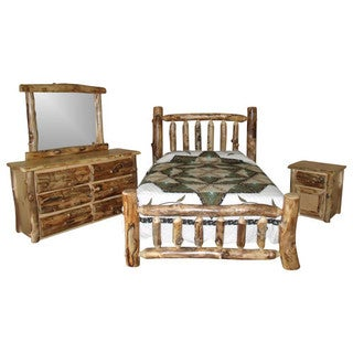 Rustic Aspen Log Complete BEDROOM SET: Includes Bed, 6 Drawer Dresser, Mirror Frame & Nightstand