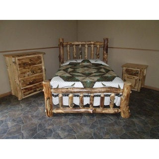 Rustic Aspen Log Complete BEDROOM SET: Includes Bed, 4 Drawer Dresser & Nightstand