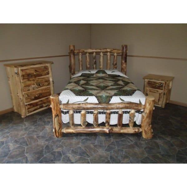 rustic aspen log complete bedroom set includes bed 4 drawer dresser