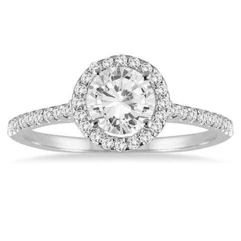 Marquee Jewels 14k White Gold 1 1/4ct TDW Diamond Halo Ring - White I-J