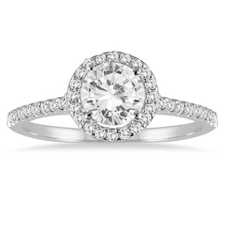 Marquee Jewels 14k White Gold 1 1/4ct TDW Diamond Halo Ring