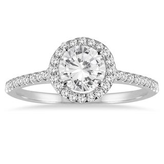 Marquee Jewels 14k White Gold 1 1/4ct TDW Diamond Halo Ring - White I-J