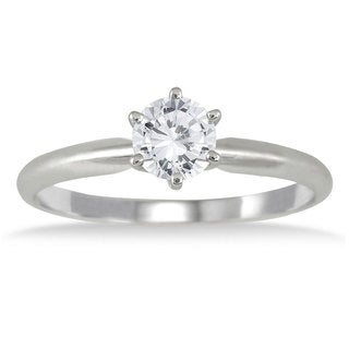 Marquee Jewels 14k White Gold 1/2ct TDW Diamond Solitaire Ring