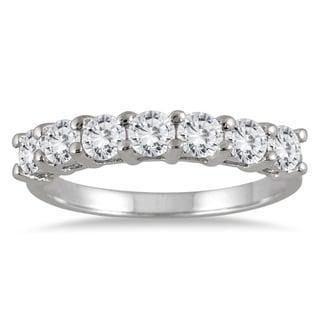 Marquee Jewels 14k White Gold 1ct TDW 7-Stone Diamond Wedding Band (J-K, I2-I3) - White J-K