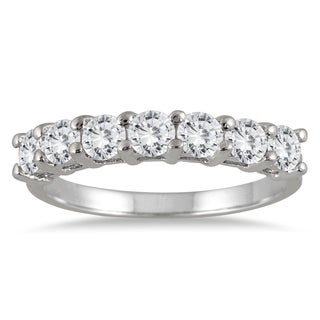 Marquee Jewels 14k White Gold 1ct TDW 7-Stone Diamond Wedding Band (J-K, I2-I3) - White J-K