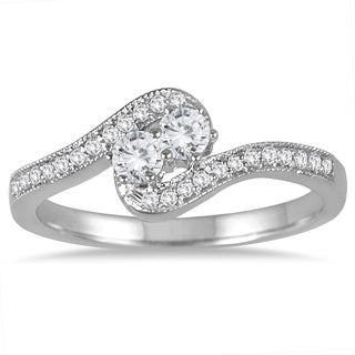 Marquee Jewels 10k White Gold 1/4ct TDW Two-stone Ring (J-K, I2-I3) - White J-K (More options available)