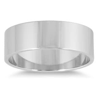 Marquee Jewels 14K White Gold Flat Wedding Band (6mm)