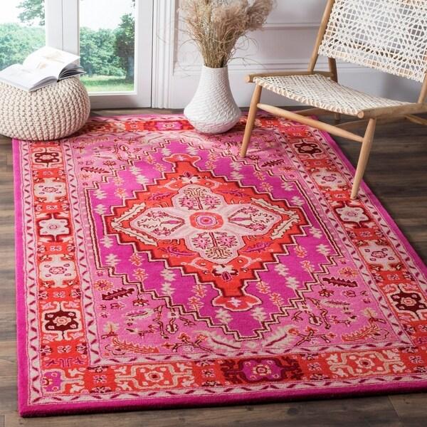 Shop Safavieh Bellagio Handmade Bohemian Red/ Pink Wool