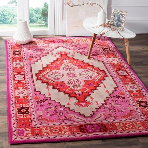 Safavieh Bellagio Handmade Boho Medallion Red Pink/ Ivory Wool Rug - 5' x 8'
