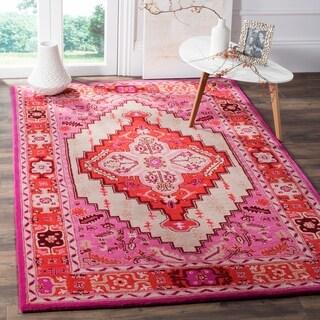 Safavieh Bellagio Handmade Bohemian Red Pink/ Ivory Wool Rug (5' x 8')