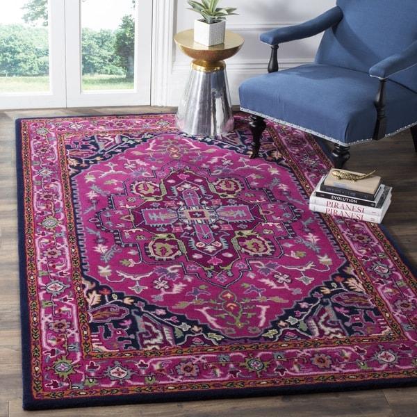 Safavieh Bellagio Handmade Bohemian Pink/ Navy Wool Rug