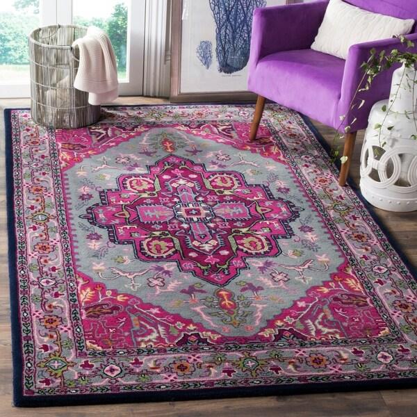 Shop Safavieh Bellagio Handmade Bohemian Grey/ Pink Wool