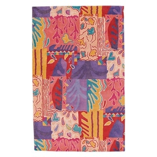 Patchwork Hand Tufted Rugs Rose Multi ( 7' x 9')