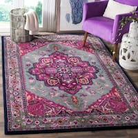 Safavieh Bellagio Handmade Bohemian Grey/ Pink Wool Rug - 5' x 8'
