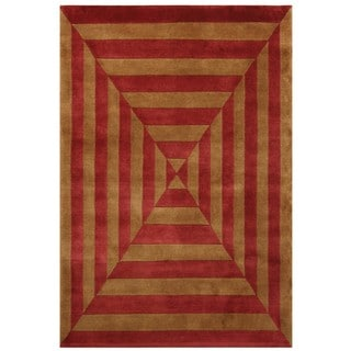 Noble House Gold and Rusty Red Hand-knotted Wool Rug (8' x 10')