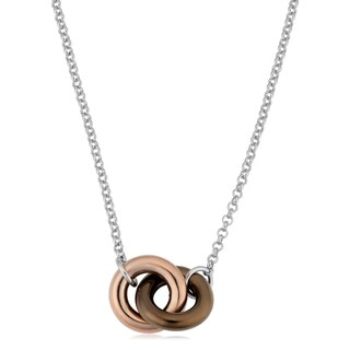 Argento Italia Tri-color Sterling Silver Interlocking Circles Adjustable Length Necklace