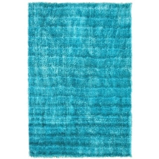 Noble House Mirage Aqua Blue Shag Rug (8' x 11')