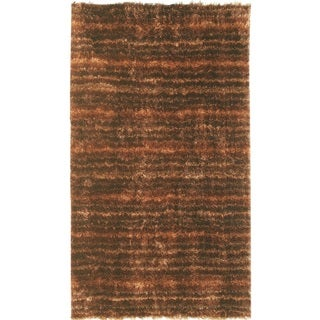 Noble House Inc Mirage Brown/Gold Polyester Shag Rug (4'x6')