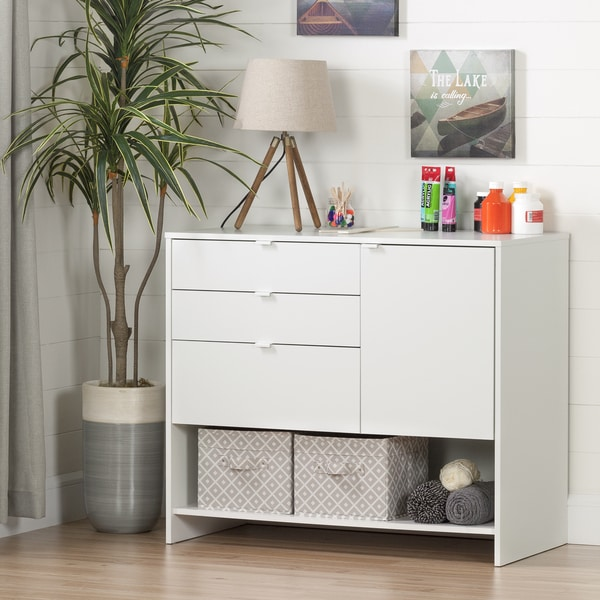 Shop South Shore Crea Pure White Wood Craft Storage Cabinet With