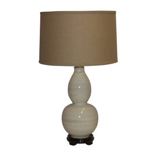 Crown Lighting Cermamic 1-light White w/Tan Lines Table Lamp