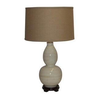 Crown Lighting Cermamic 1-light White w/Tan Lines Table Lamp