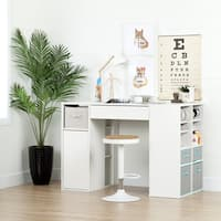 South Shore Furniture Crea Pure White Counter-height Craft Sewing Table and Stool Set