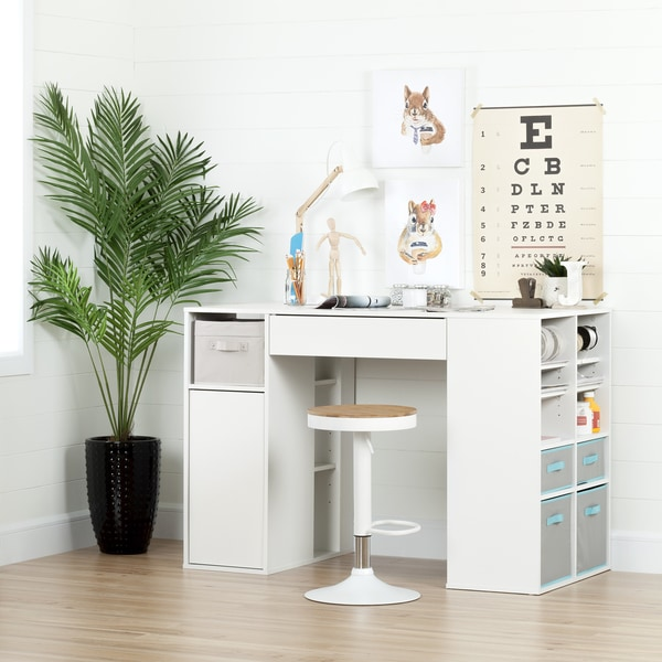 South Shore Furniture Crea Pure White Counter Height Craft Sewing Table And  Stool Set