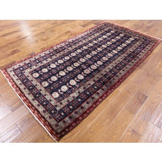 Persian Balouch Red, Blue, and Cream Hand-knotted Wool Rug (4'2 x 7'10)