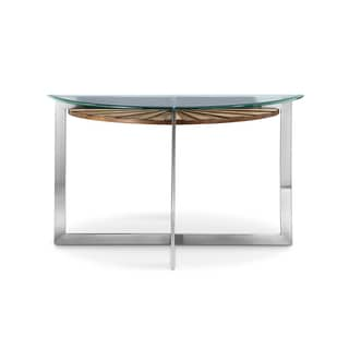 Rialto Contemporary Brushed Nickel Metal Demilune Glass Top Console Table