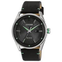 Citizen Men's BM6980-08E Eco-Drive Black Leather Watch