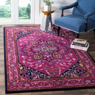 Safavieh Bellagio Handmade Bohemian Pink/ Navy Wool Rug (4' x 6')