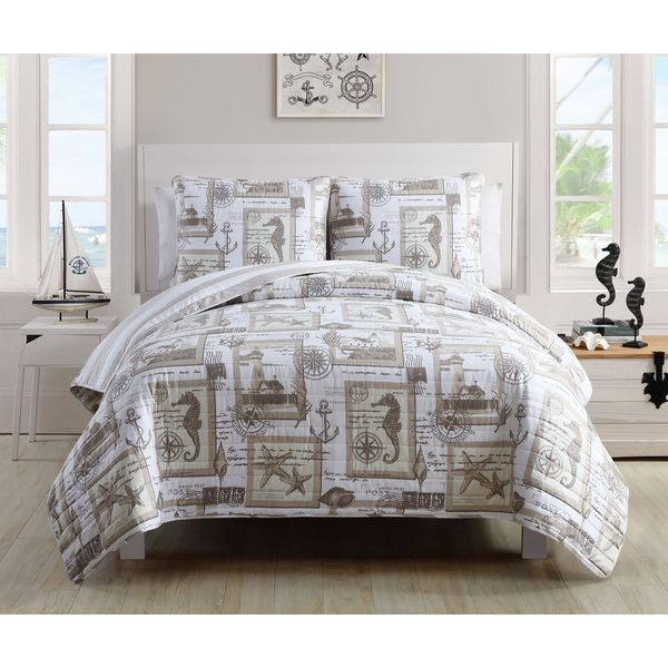 VCNY Nautical Cabana 3 Piece Quilt Set