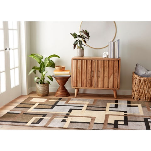 Home Dynamix Tribeca Collection Contemporary Brown/Grey Area Rug