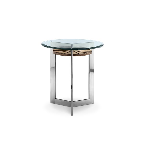 Rialto Contemporary Brushed Nickel Metal End Table With Round Glass Top