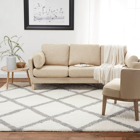 Home Dynamix Carmela Collection Transitional Grey/Ivory Shag Area Rug (2'6 x 4'3)