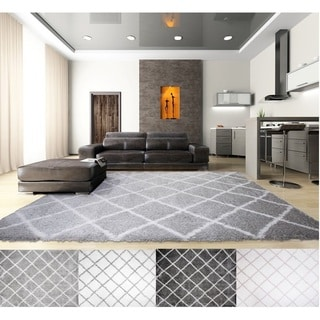 Home Dynamix Carmela Collection Grey/Ivory Microfiber Shag Area Rug (2'6 x 4'3)