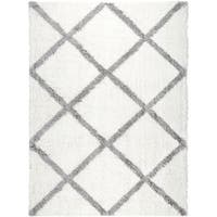 Home Dynamix Carmela Collection Ivory/ Grey Microfiber/ Jute Shag Area Rug (9'2 x 10'2)
