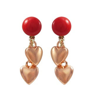 Luxiro Two-tone Gold Finish Sterling Silver Red Shell Pearl Children's Heart Earrings