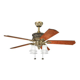 Kichler Lighting Corinth Collection 52-inch Burnished Antique Brass Ceiling Fan w/Light