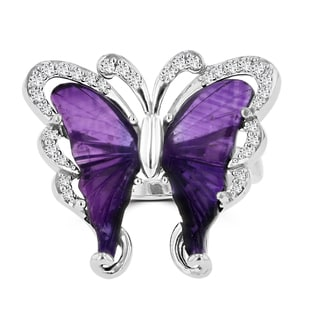 Sterling Silver Natural Amethyst 6 2/5ct and Diamond 0.35ct TDW Butterfly Ring by La Vita Vital (VS-SI1, G-H)