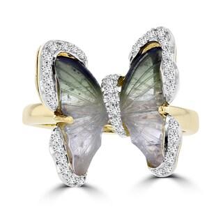 14k Yellow Gold Tourmaline and 1/4ct TDW Diamond Ring