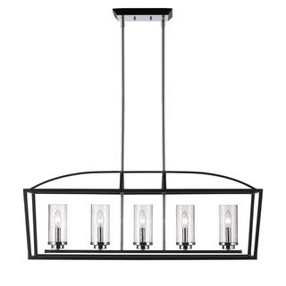 Golden Lighting Mercer Black Seeded Glass 5-light Linear Pendant