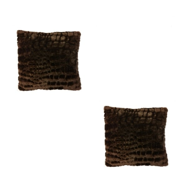 Brown Faux Fur 16-inch Square Throw Pillows (Set of 2)