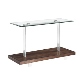 Modern Loft Contemporary Cherry and Brushed Nickel Glass Top Console Table